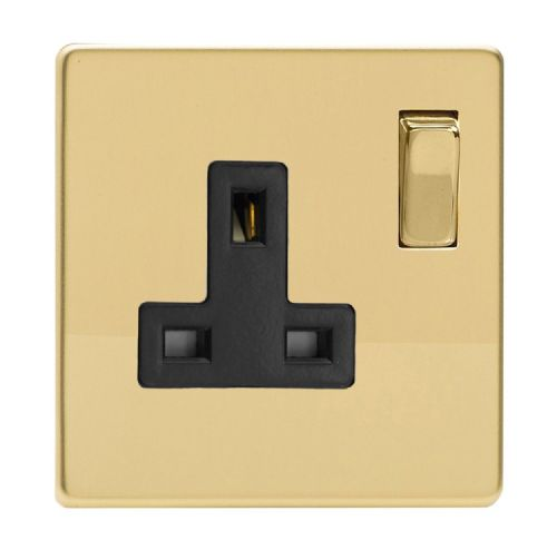 Varilight XDV4BS Screwless Polished Brass 1 Gang 13A DP Single Switched Plug Socket
